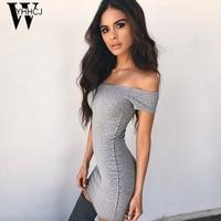 WYHHCJ 2017 Short Sleeve Off Shoulder Summer Dress Slash Neck Sexy Bodycon Women Dress Mini Casual