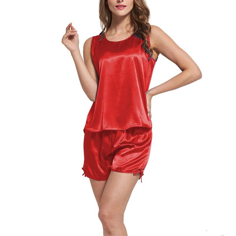 Summer women leisure pajamas two piece suit shorts Sexy Lingerie Nightwear Underwear Round Neck Sleeveless Tops+Pants