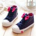 2015 Venda Quente Primavera Outono Gravata Borboleta Crianças Sapatos meninas Sapatos Alto-top Laço Meninas Sapatos de Lona Cadarço Crianças Tênis