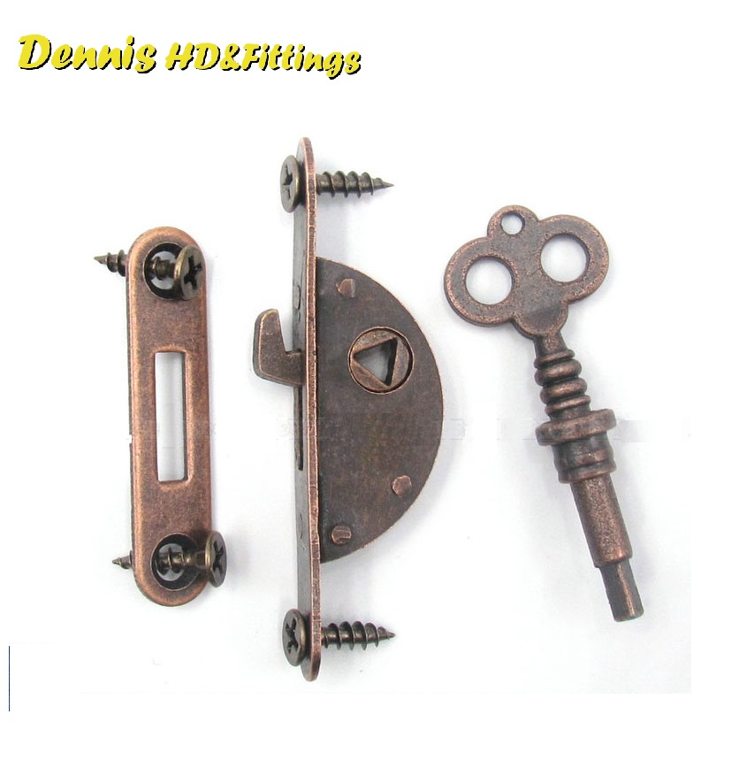 Premintehdw Classic Vintage Furniture Cabinet Cupboard Lock Locks Red Bronze Hook