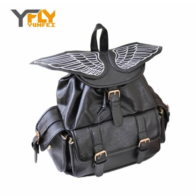 Y-FLY 2016 Cute Wing Backpack Women's Backpacks for Teenage Girls Fashion Trendy School Rucksack Personality PU Mochilas HC5034