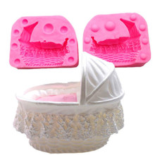 1Pc Cake Mold 3D baby kid crib bassinet cradles carriage car silicone mold cake mould Fondant tools Decorating Mold Cupcake(China)