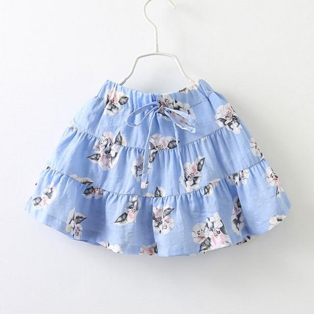 2 to 7 years kids girls spring summer flower print cotton casual skirts children fashion blue tutu skirts clothing