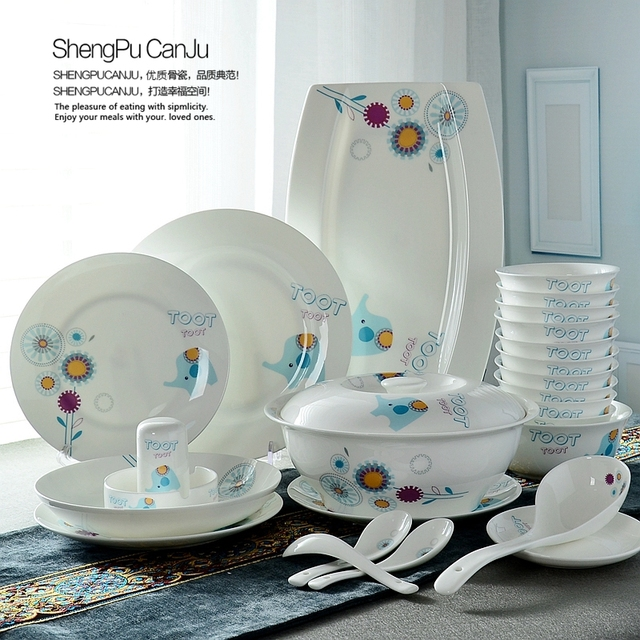 56piece Set Fine Bone China Dinner Plates And Bowl Kitchen Cooking Food Container