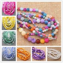 Multi-Color Frost Crackle Agates 4-14mmRound Beads 15″ 14Colors,For DIYJewelry making!We provide mixed wholesale for all items !