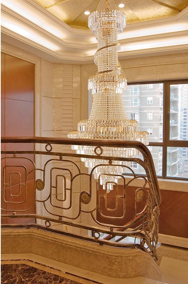 Duplex guld krystal lysekroner armatur moderne hotel hall parlour - Indendørs belysning - Foto 5