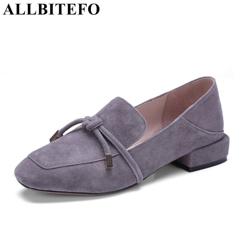 ALLBITEFO/Большие размеры: 34-42 нубук натуральная кожа с квадратным носком женские туфли-лодочки с модной бабочкой на низком каблуке Lok Fu/высокая ...