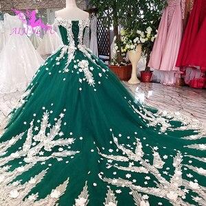 Image 1 - AIJINGYU サテンフリルトリムセクシーなショートドレス格安デザイナーカスタムボール母の花嫁衣装安価なウェディングドレス
