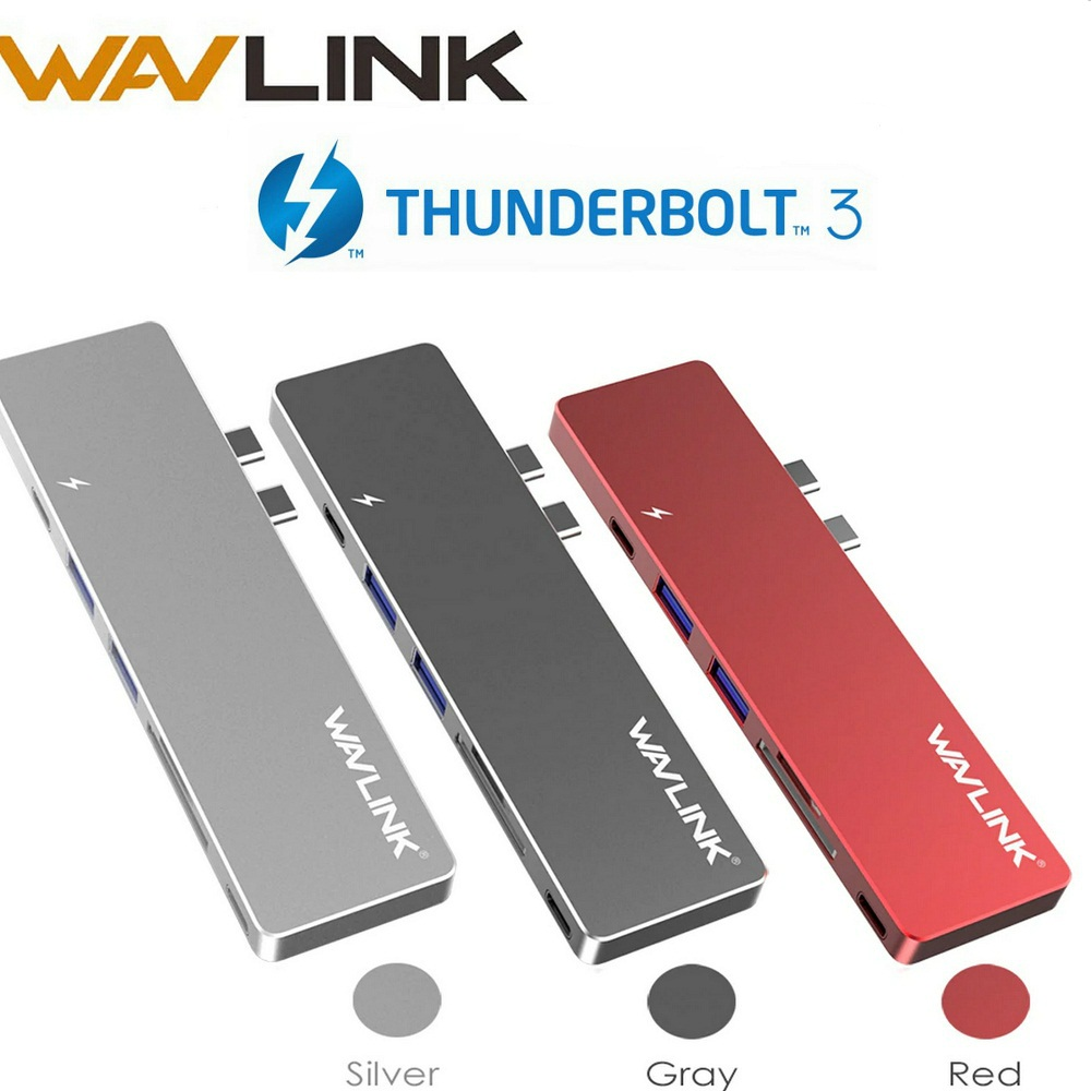 Wavlink Thunderbolt 3 USB Type C Hub 40Gb/s 7ports USB3.0 Hub mini dock Aluminum 4K HDMI SD/Micro SD Card Reader For MacBook Pro new portable mini design charming 3 in 1 card reader usb type c micro usb 3 0 tf sd card reader support type c otg card reader