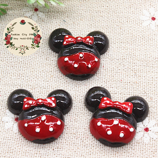 10pcs Kawaii Resin Minnie Mouse Flatback Cabochon DIY Decorative Craft Scrapbooking Accesssory,22*25mm