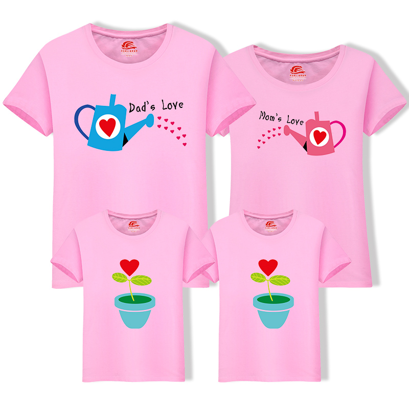 HTB1LBeHeXkoBKNjSZFEq6zrEVXae - Matching Family Clothing 1 piece Family Cultivate Love Summer Short-sleeve T-shirt Outfits For Mother Daughter And Father Son