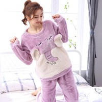 Animal Thick Flannel Pattern Winter Women Pajamas Set Female Plush Long Sleeve Sleepwear Cartoon Elephant Warm Pyjamas Suit