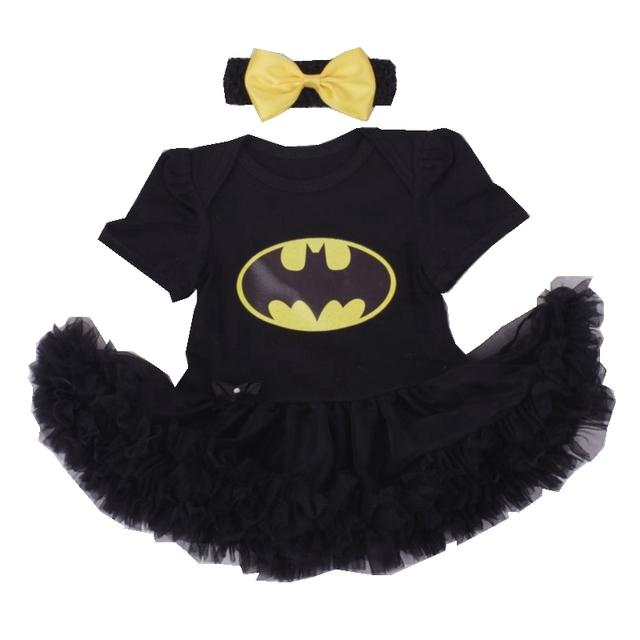 Batman bebe trajes de navidad para los niños de encaje negro mameluco dress + headband 2 unids ropa de bebé niña conjunto infantil del niño ropa