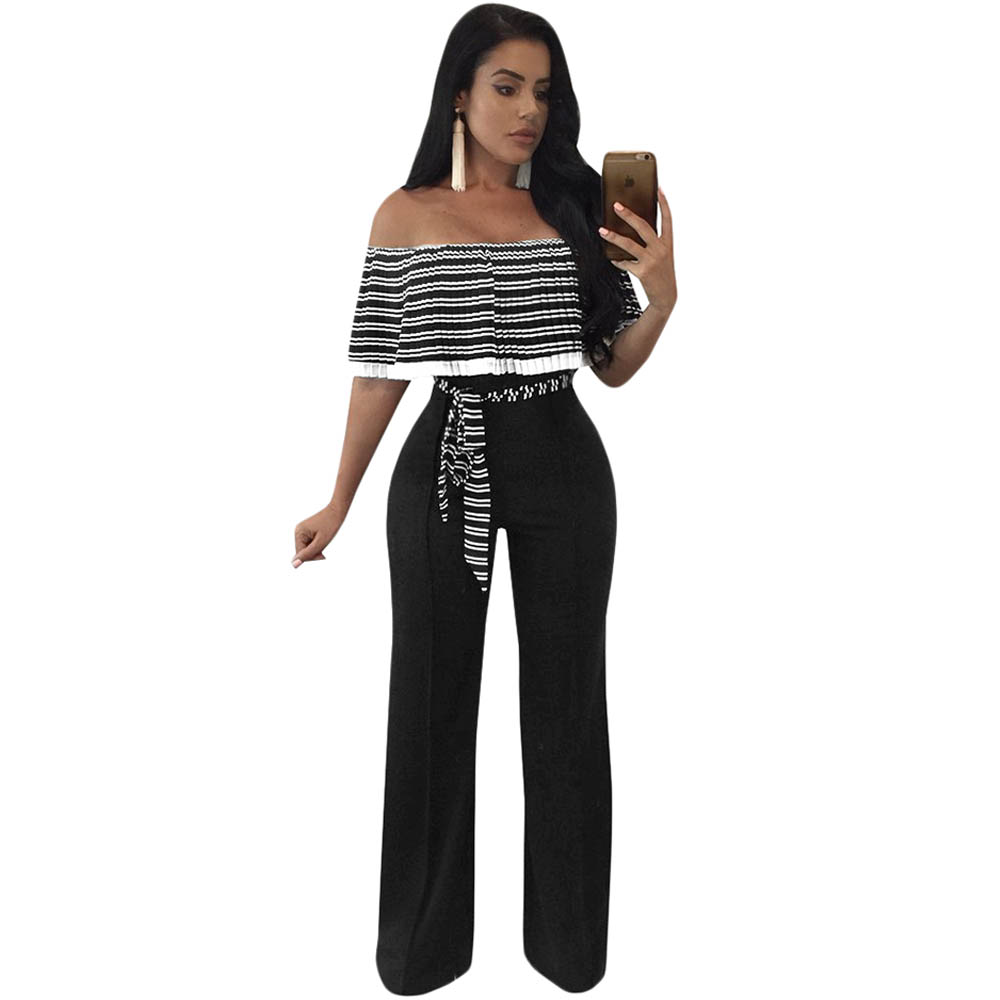 2018 Elegant Striped Ruffles   Jumpsuit   Women Off Shoulder Full Bodysuit Wide Leg   Jumpsuit   Casual Rompers Party Overalls Plus Size