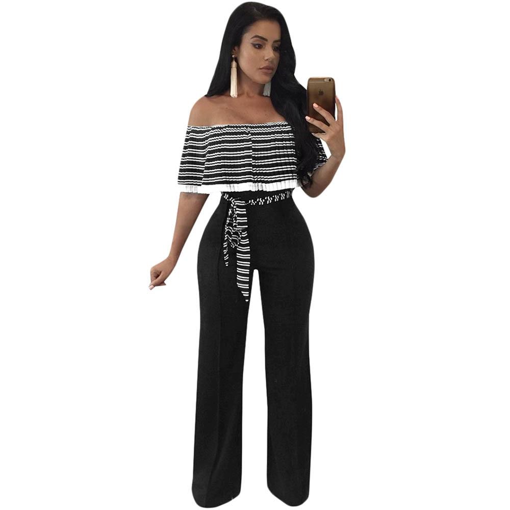 2019 Elegant Striped Ruffles   Jumpsuit   Women Off Shoulder Full Bodysuit Wide Leg   Jumpsuit   Casual Rompers Party Overalls Plus Size