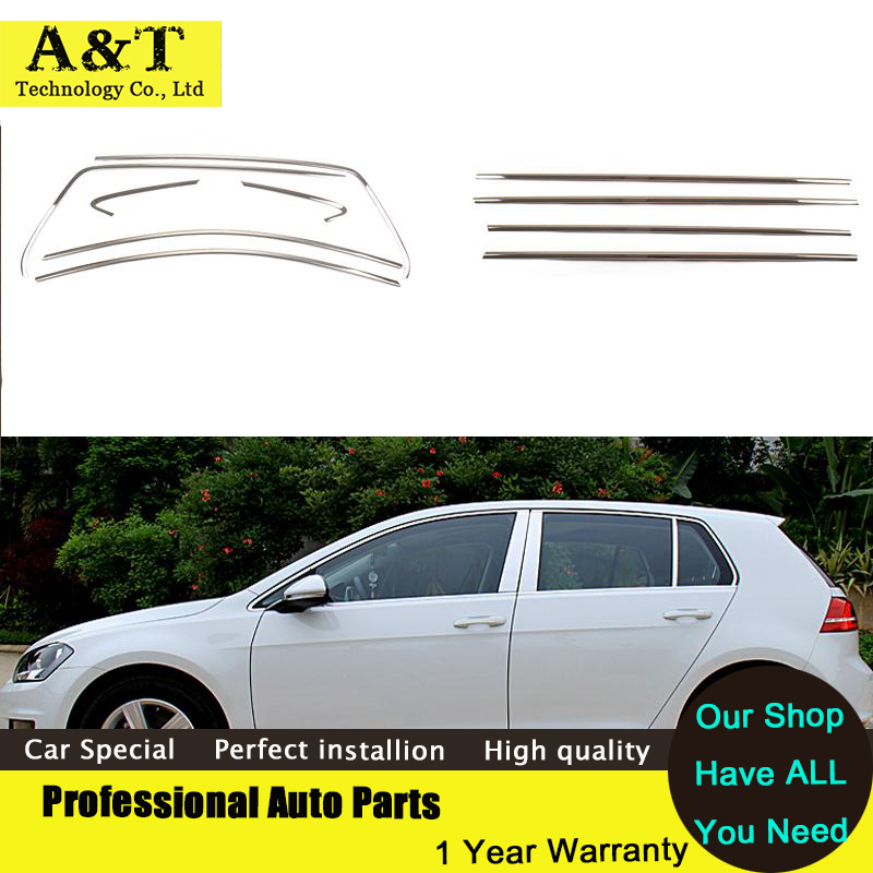 Full Window Trim Decoration Strips For Volkswagen Golf 7 2013 2014 2015 Stainless Steel high quality chrome trim car styling Car stainless steel full window with center pillar decoration trim car accessories for hyundai ix35 2013 2014 2015 oem 24