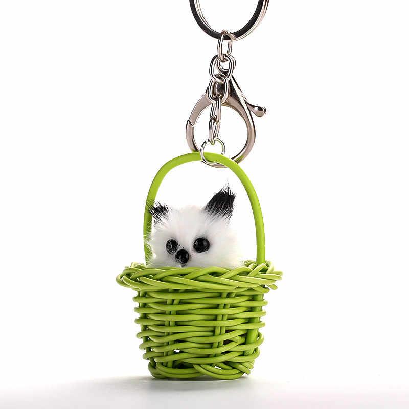 Rổ Mèo Móc Chìa Khóa Dễ Thương Hình Động Vật Thời Trang Keyrings Món Quà Trang Sức Nữ Cô Gái Khóa có Mặt Giá Đỡ
