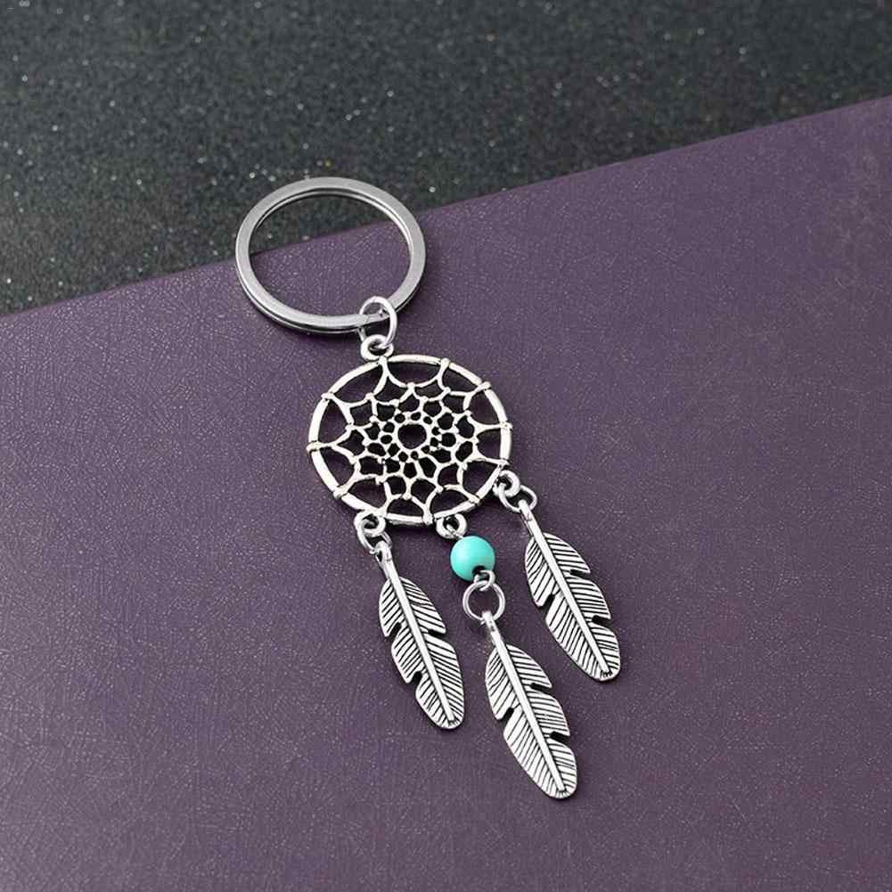 Ювелирный подарок розовый черный бисер Ловец снов перьевой колокольчики мечта брелок для ключей в виде Ловца снов женский Винтажный Индийский стиль брелок