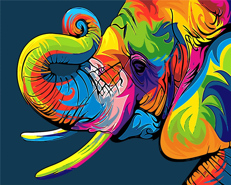 Colorful elephant photos children DIY digital Paintings ...
