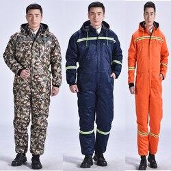 Зимние комбинезоны теплые хлопковые стеганые с капюшоном рабочая одежда пыленепроницаемые противообрастающие рыболовные уличные зимние ...