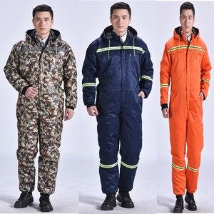 Image 1 - Зимние комбинезоны, теплая рабочая одежда с хлопковой подкладкой и капюшоном, пыленепроницаемые зимние уличные пальто для рыбалки, Рабочие Комбинезоны
