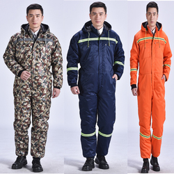 Winter Overalls Warm Cotton Padded Hooded Work Clothing Dust-Proof Anti Fouling Fishing Outdoor Winter coats Working Coveralls