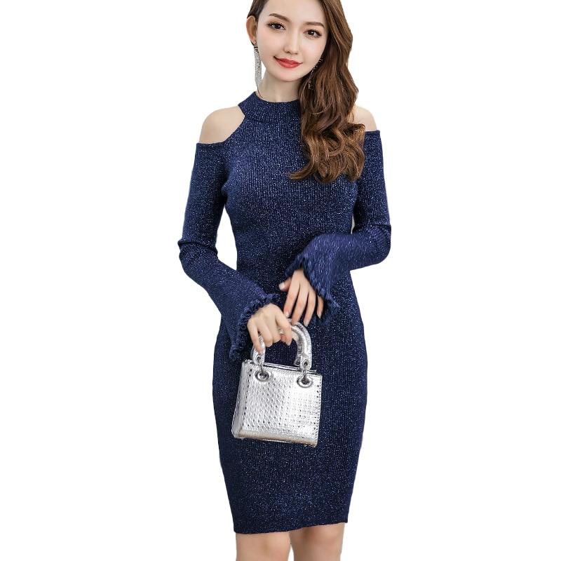 Блестящее облегающее платье с расклешенными рукавами для женщин; вечерние женские блестящие вечерние платья средней длины с открытыми пле...