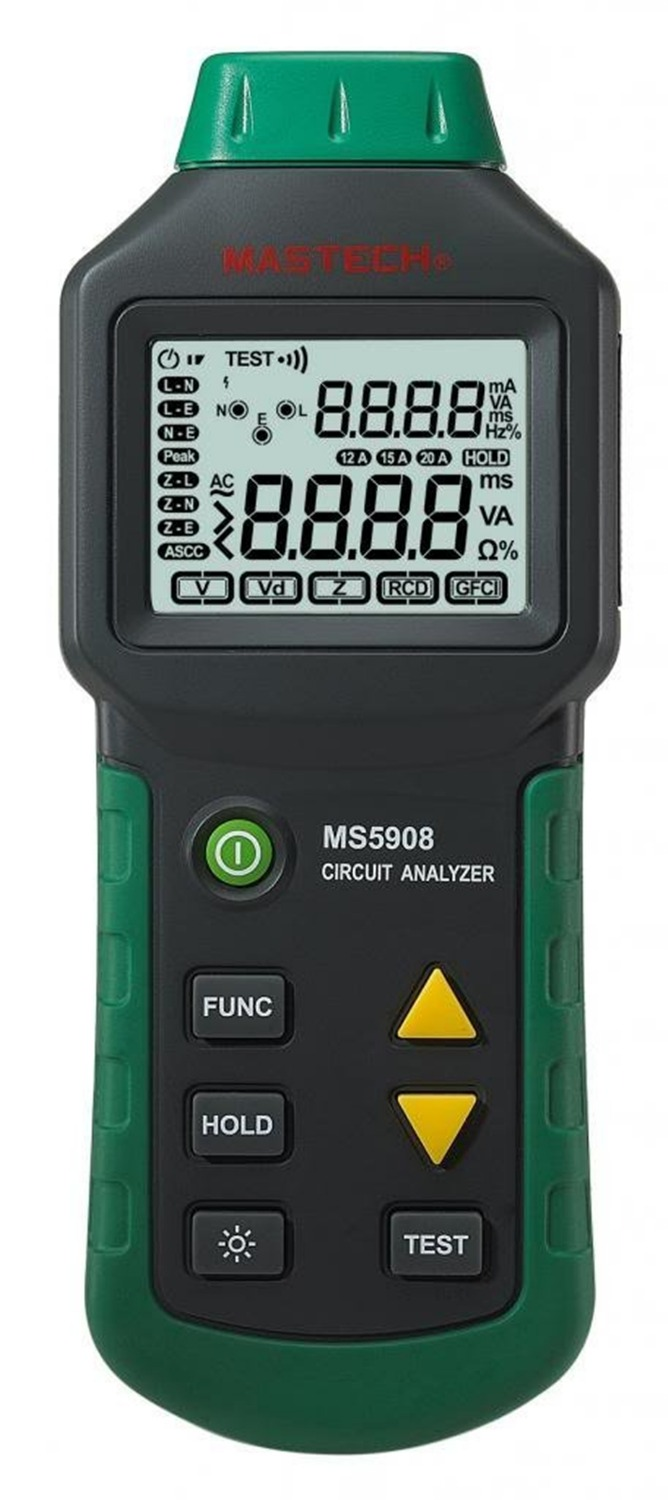 Mastech MS5908 RMS Circuit Analyzer Tester Compared w/ IDEAL Sure Test Socket Tester 61-164CN 110V or 2 mastech ms5908 serial rms circuit analyzer tester compared w ideal sure test socket tester ms5908c eu plug