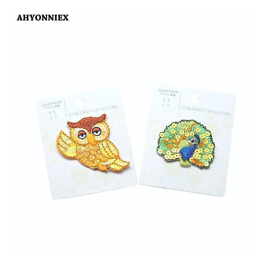 1 PC Pavão coruja animal Patches Japão tipo de Roupas para Bordar roupas da moda Applique etiqueta dos desenhos animados DIY Acessórios de Vestuário