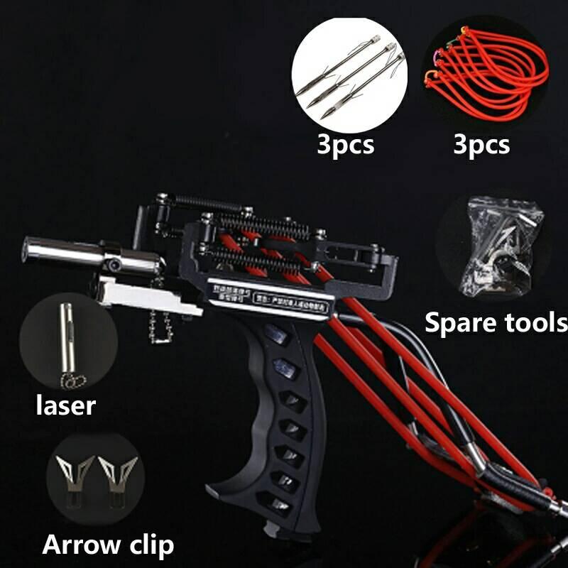 Outdoor Powerful Slingshot Catapult Precise Slingshot Crossbow Bow Laser Slingshot Shooting Fishing Darts Accessories