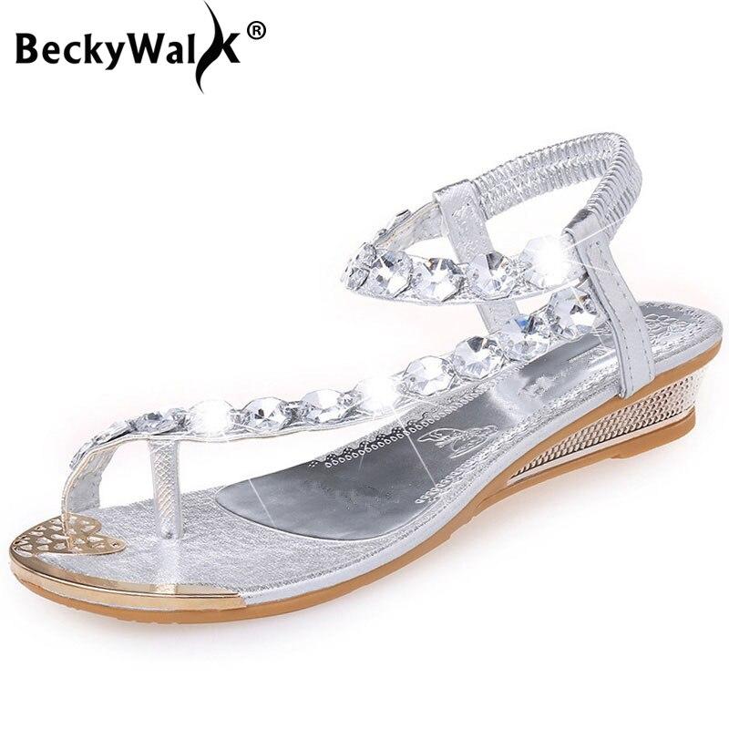 Beckywalk Wedge Sandals Flip-Flops Beach-Shoes Crystal Low-Heels Bohemia Fashion Summer