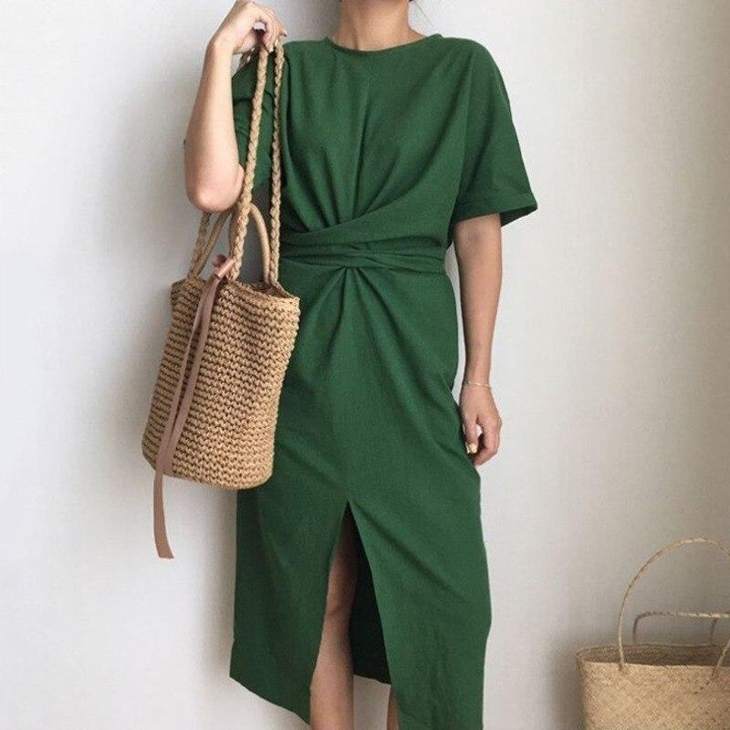 LANMREM 2019 Summer New Solid Color Loose Round Neck Natural Waist Vintage Split The Fork Fashion Women Dress E4100