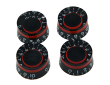 Set of 4 LP Guitar Speed Dial Knobs Control Knob Black/Red