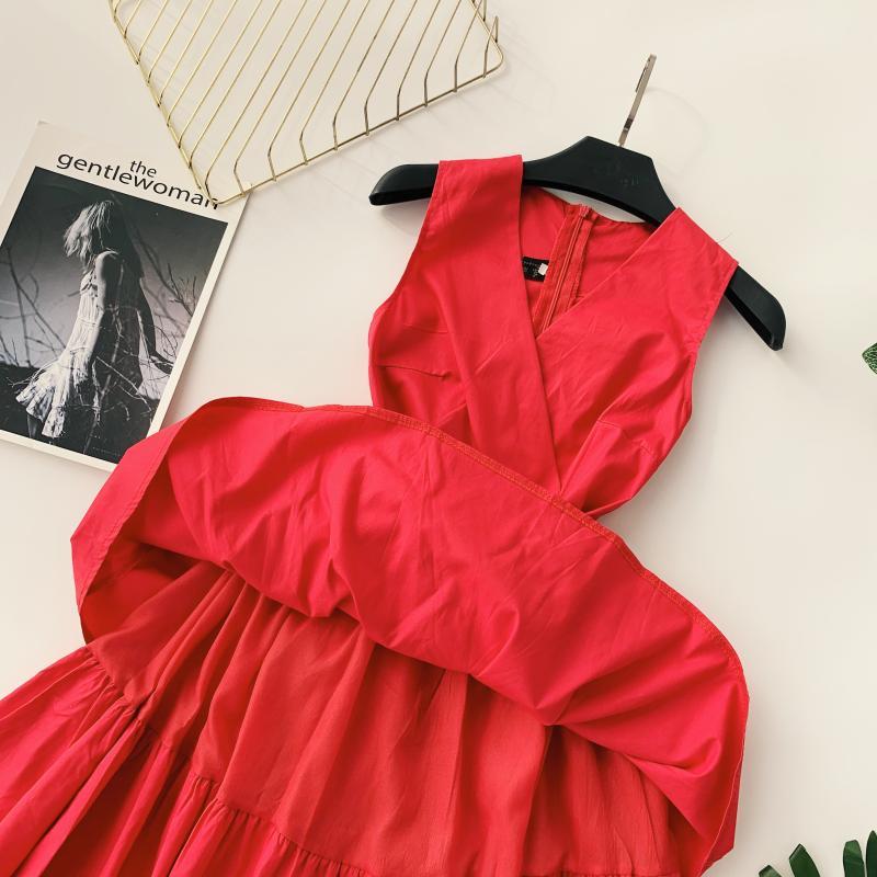 Korean Vintage Pure V Collar Sleeveless High Waist Bow Tie Double Ruffle Holiday Dress Women Vestidos E348 68