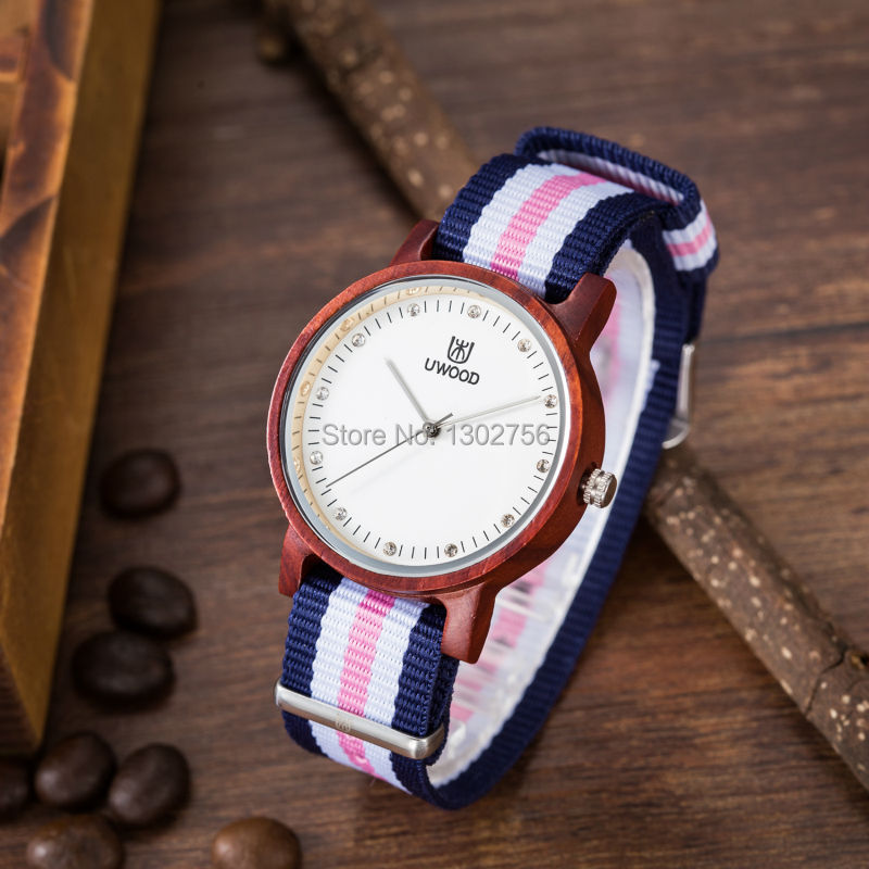Multi-Color Striped Nylon Band Red Sandal Wood Health Watches Uwood MIYOTA Quartz Movement Wooden Wristwatch For Women Ladies eco friendly top red sandal wood health watches uwood brand wooden watch japan quartz wristwatch for mens women lover best gift
