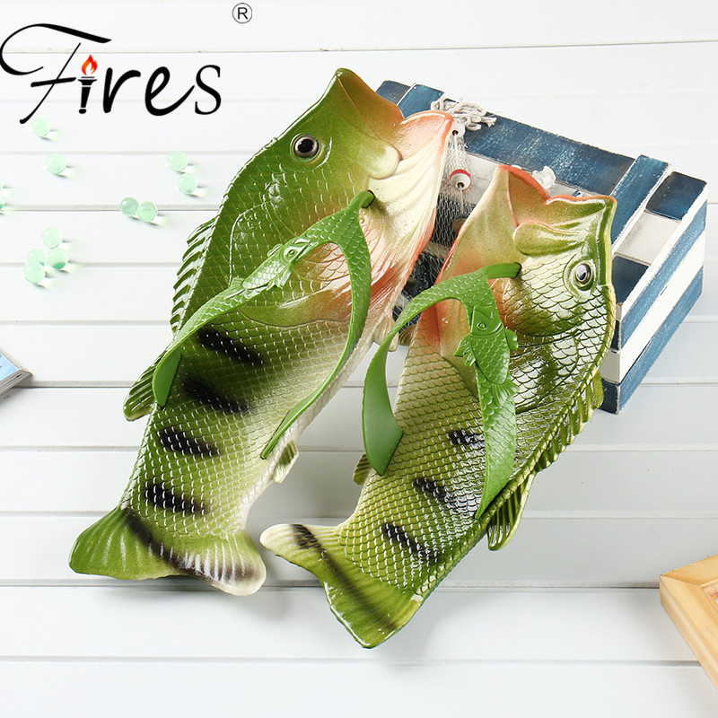 Fires Summer Men Slippers Women Lightweight Flip Flops Fish Pattern Couple Outdoor sandals Shoes Water Beach Shoes Zapatos Mujer
