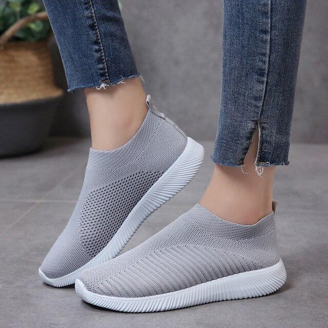 Rimocy breathable air lưới mùa xuân 2019 phẳng gót giày phụ nữ giản dị trượt trên stretch dệt kim vớ nền tảng giày phụ nữ căn hộ