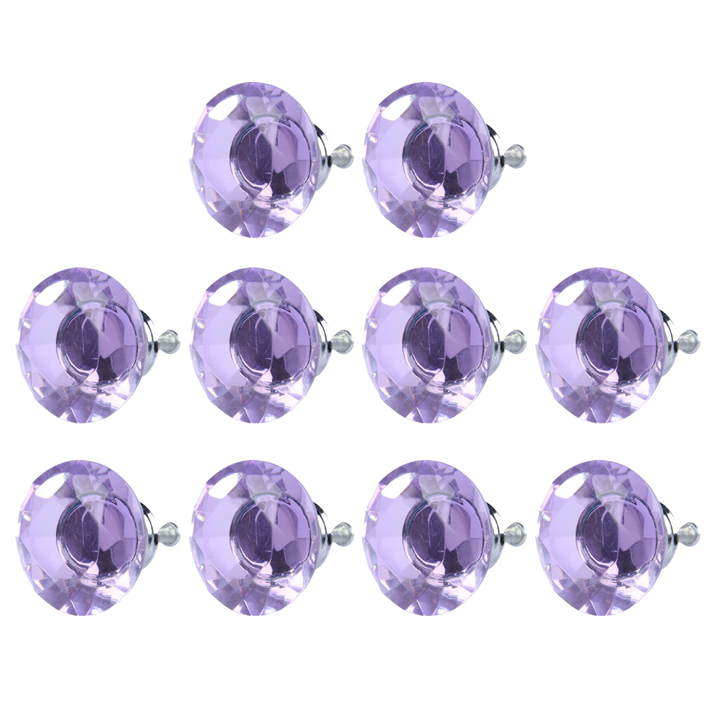 10pcs Diamond Shape Crystal Glass Drawer Cabinet Pull Handle Knob (Light Purple) generic 30mm crystal glass diamond shape cabinet knob drawer pull handle kitchen color purple pack of 20