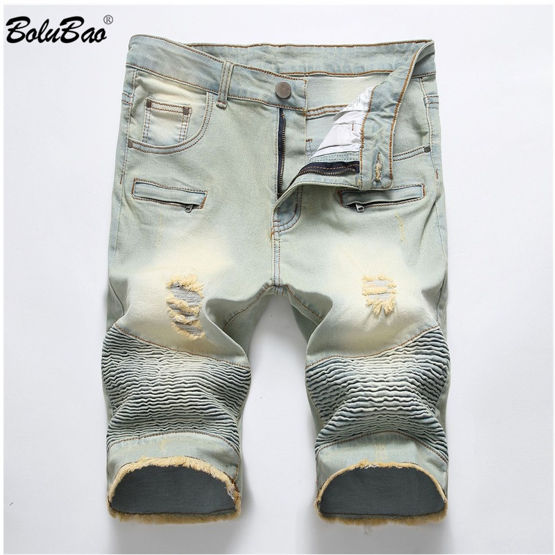 BOLUBAO Summer New Men's Ripped Short Jeans Men Fashion Casual Slim Fit Denim Shorts Elastic Distressed Hole Denim Shorts Male