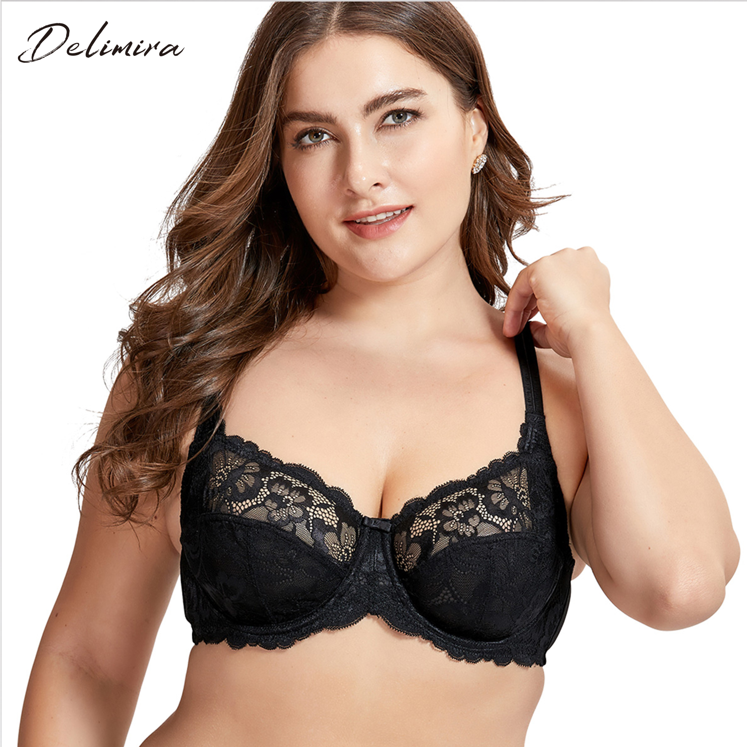 00da64f87a9 Detail Feedback Questions about DELIMIRA Women s Sexy Plus Size Sheer Lace  Bra Non Padded Underwire Balconette on Aliexpress.com