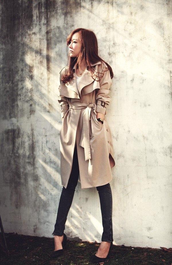 2017 Новая Мода Весна Осень Женщины Плащ Длинный Пиджаки Плюс размер Талии Тонкий Плащ для Женщин С Поясом Весна Пальто