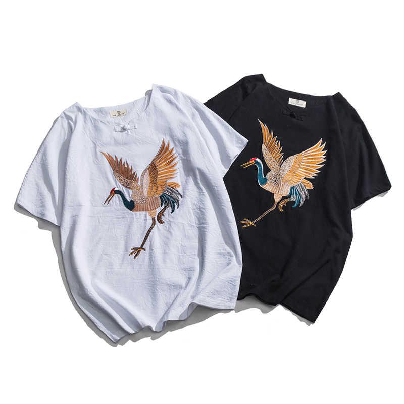 男性半袖刺繍 Tシャツ男性コットンリネンストリートヒップホップ黒、白 Tシャツ日本スタイルカジュアル Tシャツ