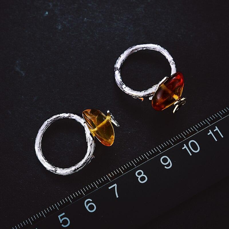 Lotus Plaisir Réel 925 Sterling Argent ambre naturel À La Main Designer Bijoux fins Regarder En Arrière Papillon bagues pour femmes Bijoux - 3
