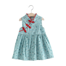e8179d3c1 Fashion 1-6Y Summer Kids Baby Girls Dresses Chinese Traditional Dress  Cheongsam Vintage Sleeveless Dress