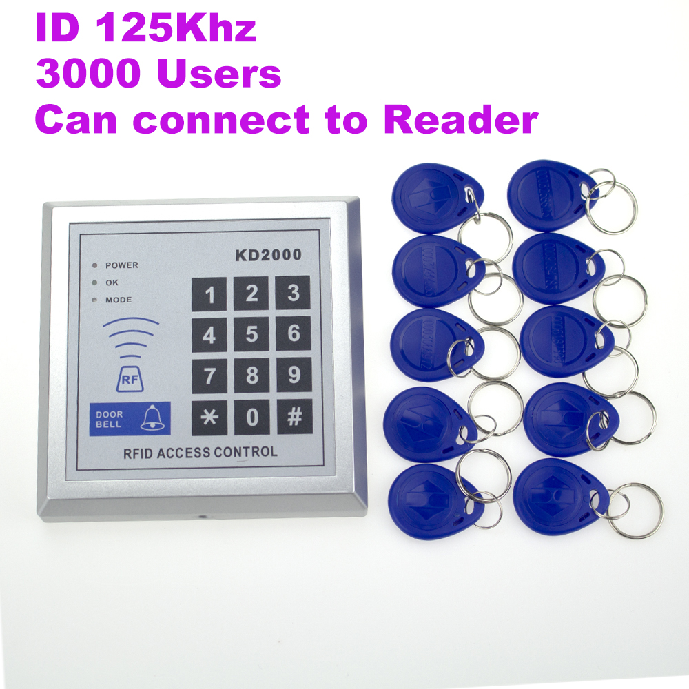 K2000 Electric Door Lock Access Control System Keychain Reader Control Keypad with Smart RFID Cards 10pcs RFID Keyfobs 3000 User digital electric best rfid hotel electronic door lock for flat apartment
