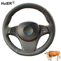 Hand Sewing Car Steering Wheel Cover Top Layer Cow Leather Funda Volante For BMW E83 X3 2003 2009 2010 E53 X5 2004 2005 2006