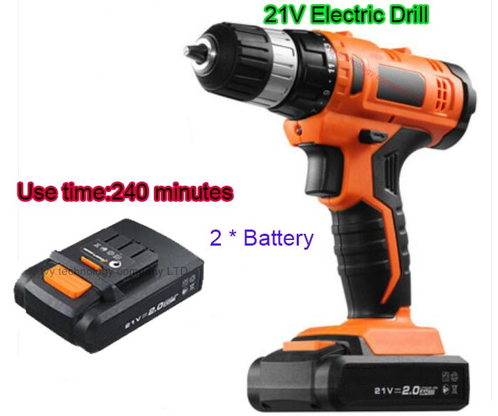 21v Lithium Battery*2 Adjustable speed Cordless Charging Electric Drill bits home hammer impact Screwdriver hand Power Tool