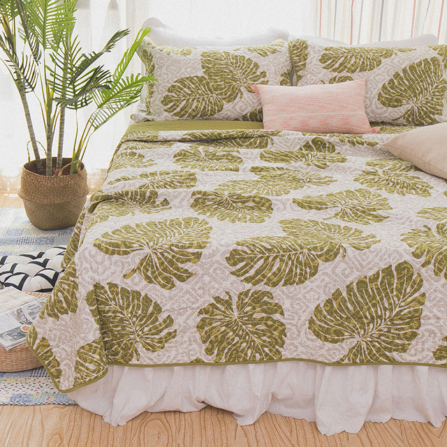 CHAUSUB Green Quilt Set 3PCS Washed Cotton Coverlet Set Quilts Quilted  Bedspread Bed Cover Pillowcase Sheets
