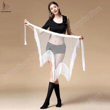 Yeni kadın oryantal dans kemer giyim düzensiz sıkı uzun püskül pullu Latin dans Bellydancing cıngıllı şal bel 3 renkler