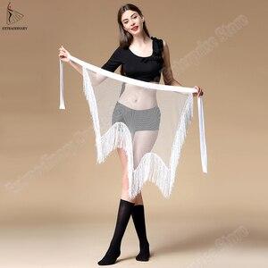 Image 1 - Yeni kadın oryantal dans kemer giyim düzensiz sıkı uzun püskül pullu Latin dans Bellydancing cıngıllı şal bel 3 renkler